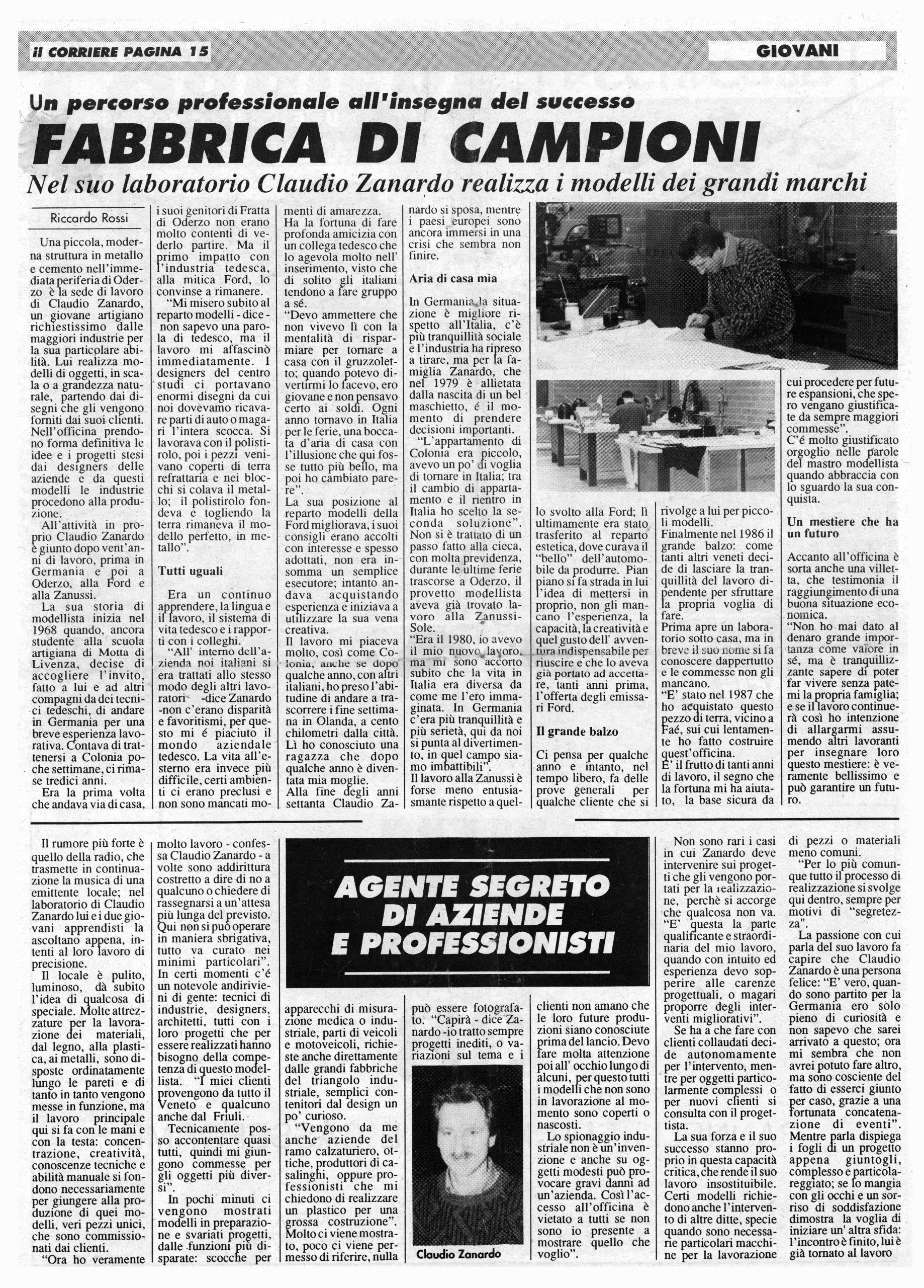 modell plast articolo di giornale Zanardo
